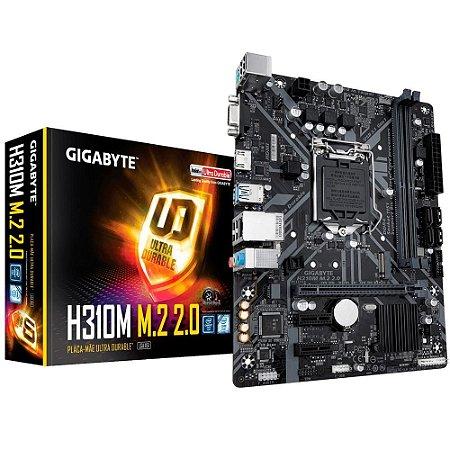 Placa Mãe 1151 8ª, 9ª Geração Gigabyte H310M M.2 2.0, DDR4, mATX, Intel