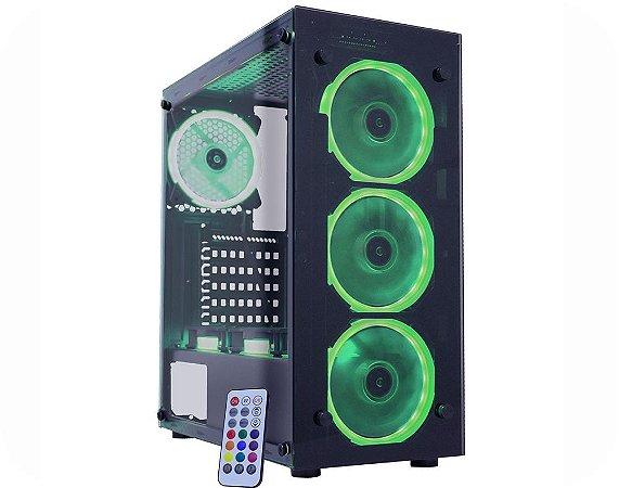 Gabinete Gamer Kmex CG-01N9 Atlantis 1, Vidros, 3 Fans RGB Ritmicos Sem Fonte