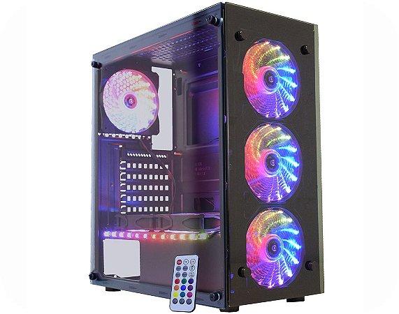 Gabinete Gamer Kmex CG-03N9 Atlantis 3, Vidros, 3 Fan 15 led 1 fita RGB Rainbow Sem Fonte