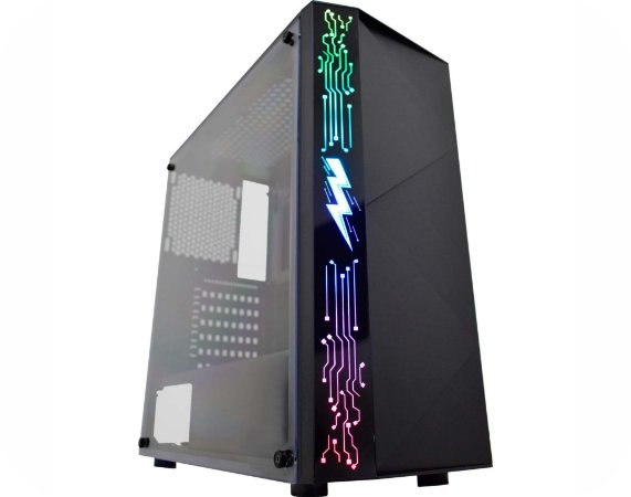 Gabinete Gamer Kmex Cg-11A8 Raiden Preto Painel Rgb Rainbow Sem Fan Sem Fonte