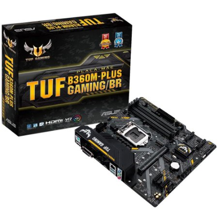 Placa Mãe 1151 8ª, 9ª Geração Asus Tuf B360M-Plus Gaming/Br, Ddr4 64Gb, M2/Nvme, Hdmi, Dvi