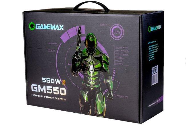 Fonte Atx 550 W Gamemax Gm550, 80 Plus Bronze, Com Pfc Ativo, Com Cabo, Preta