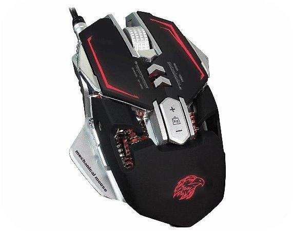 Mouse Gamer Mecanico Kmex Mo-D837, 3.200 Dpi, 7 Botões, 4 Cores Leds