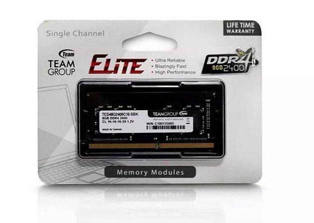 Memória Notebook Ddr4 8Gb/2400 Mhz Team Group Elite Ted48G2400C16-Sbk 1.2V