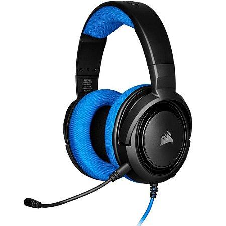 Headset Gamer Corsair Hs35, Stereo, Preto/Azul, Drivers 50mm, Ca-9011196-Na
