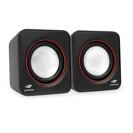 Caixa De Som C3Tech Sp-301Bk, 3 Watts Rms, Áudio 2.0, P2, Usb, Controle De Volume