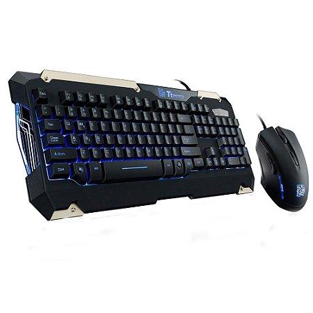Kit Gamer, Teclado Led Azul, Abnt2 + Mouse Led Azul, Thermaltake Esports Commander, Kb-Cmc-Plblpb-01