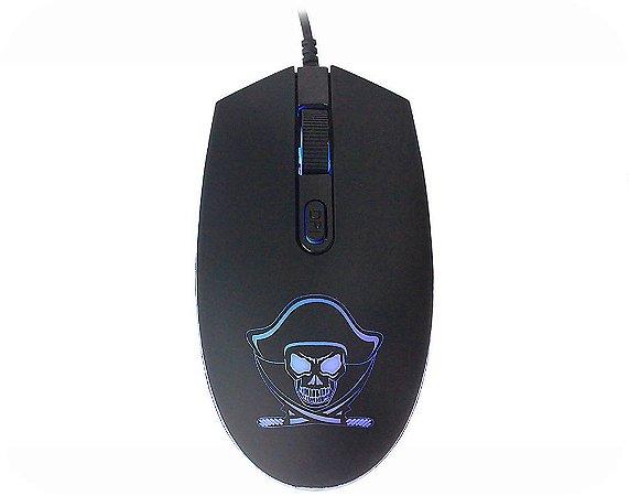 Mouse Gamer Kmex Pirata M340, 4 Led, 1.200 Dpi, Óptico, Preto, 7 Botões, Usb