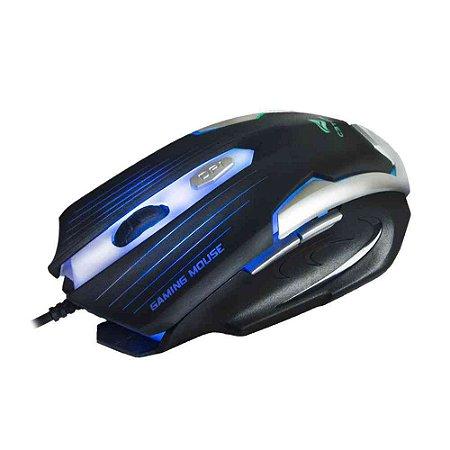 Mouse Gamer C3Tech Mg-11 Bsi, Preto E Prata, 2.400 Dpi, Ergonômico, 6 Botões, Led, Usb