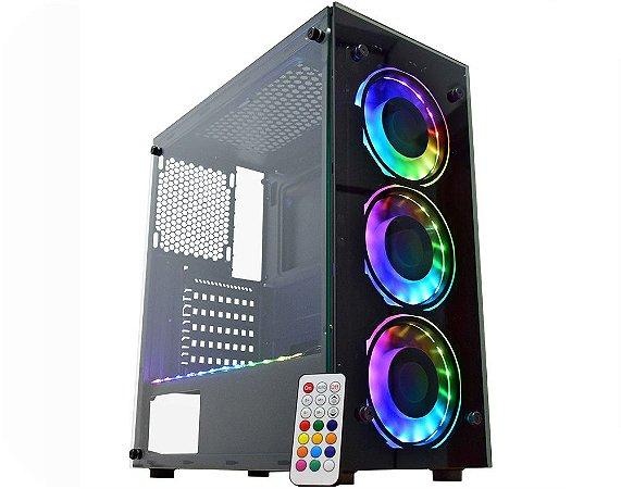 Gabinete Gamer Kmex Cg-04N9 Atlantis Iv, Com Fan, Sem Fonte, Painel Rgb, Rainbow, Preto