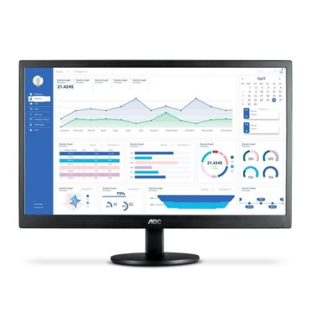 "Monitor Led 23.6"" Aoc M2470Swh2, Widescreen, Full Hd, Vga, Hdmi, Altura Ajustável, Preto"