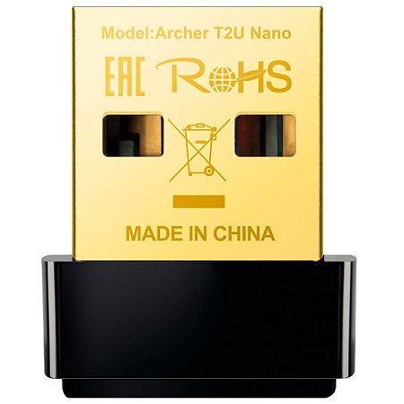 Adaptador Sem Fio Tp-Link Archer T2U Nano Ac600, Wireless, Dual Band 2.4/5 Ghz, 633 Mb/s, Usb 2.0