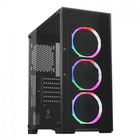 Gabinete Gamer Redragon Gc-618 Mixmaster, 3 Fans Rainbow, Sem Fonte, Vidro Temperado, Preto