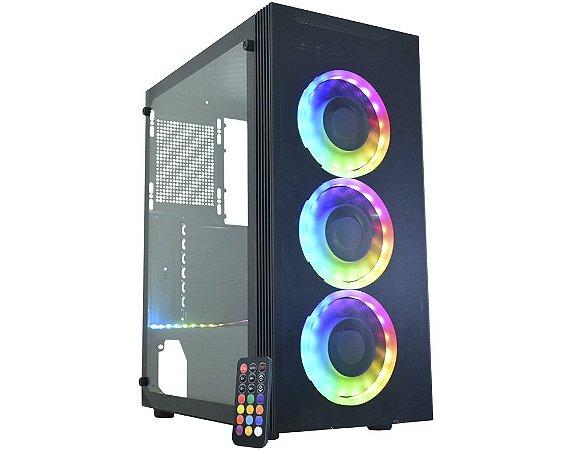 Gabinete Gamer Kmex Cg-04Z5 Asgard Iv, Sem Fonte, 3 Fans Rgb, Vidro Temperado, Usb 3.0