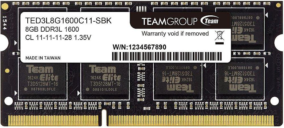 Memória Notebook Ddr3 8Gb/1600 Mhz Team Group 1.35V Ted3L8G1600C11-Sbk