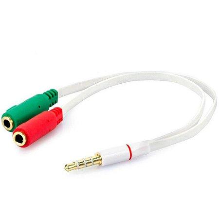 Adaptador Para Headset Md9 8057, 1 P3 Macho - 2 P2 Fêmea, Branco