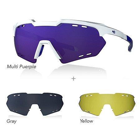 Óculos De Sol HB KIT SHIELD COMPACT ROAD white/purple