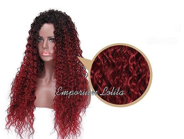 Peruca Ombre Vermelha Cachos Mod Luxo Rihanna