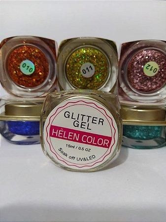 5 Kit Gel Helen Color Glitter 15ml Encapsulada