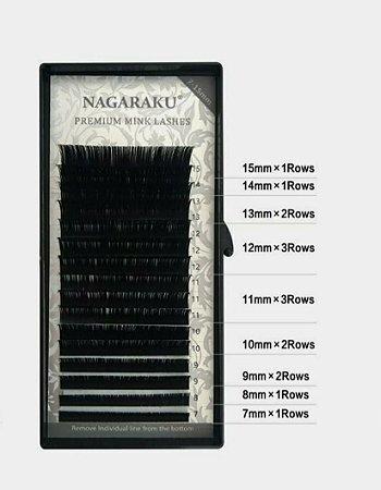 Cílios Nagaraku Premium Mink Curvatura D Mix 0,15D