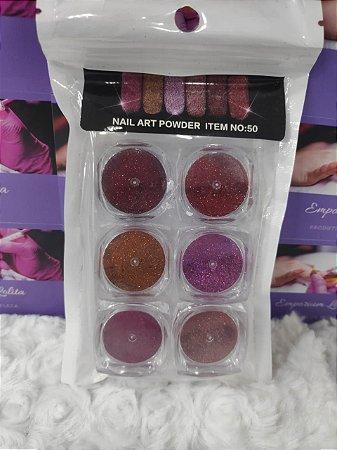 Kit 6 Nail Art Powder Multi Cores