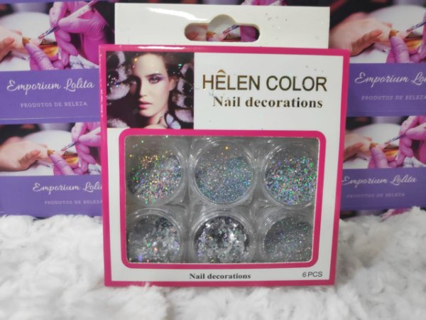 Kit 6 Glitter flocado para encapsulamento Helen Color