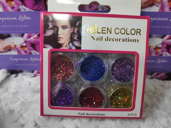 Kit 6 Flocos de Glitter Para Encapsulamento Helen Color