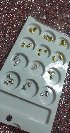 Kit 12  Pedraria Para Encapsulamento Prata/Dourado