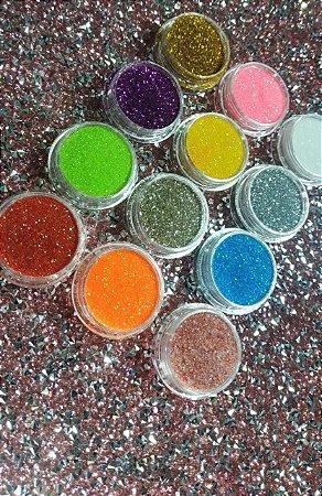 Kit 12 Pigmentos com Gliter flocado.