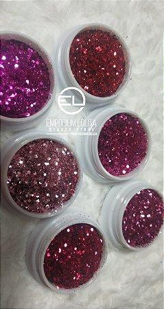 kit 6 Glitter Flocado para ENCAPSULAMENTO Rosa