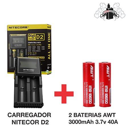 CARREGADOR NITECORE D2 + 2 BATERIAS AWT 3000MAH 3.7V 40A
