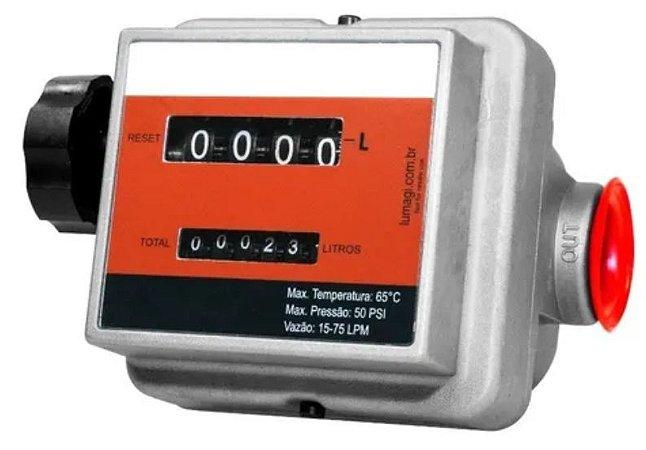 """Medidor mecânico de 4 dígitos. Rosca 1"""" BSP LUB2009"""