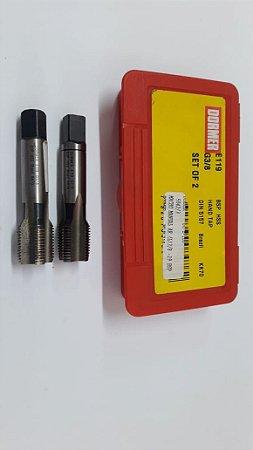 """Macho Manual BSP 3/8""""x19 p/tubo Aço Rápido E-119 c/ 2 peças"""