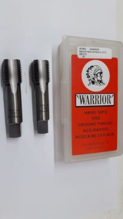"""Macho Manual BSP 1/2""""x14 p/tubo Aço Rápido c/ 2 peças"""