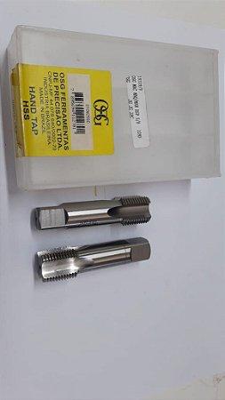 """Macho Manual BSP 5/8""""x14 p/tubo Aço Rápido 109D c/ 2 peças"""