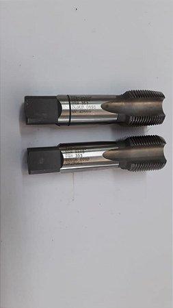"""Macho Manual BSP 7/8""""x14 p/tubo Aço Rápido c/ 2 peças"""