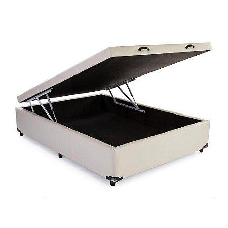 Box Com Baú 138 Casal 40x138x188 Corino Bege