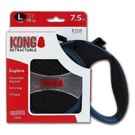 Guia Retrátil Kong Explore G Azul p/ Cachorro até 50kg 7,5m