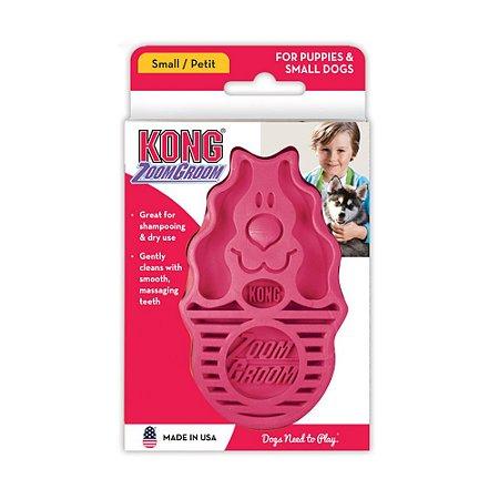 Escova de Borracha p/ Cachorro Kong Zoomgroom Raspberry P