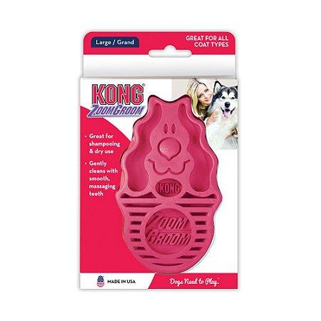 Escova de Borracha p/ Cachorro Kong Zoomgroom Raspberry G