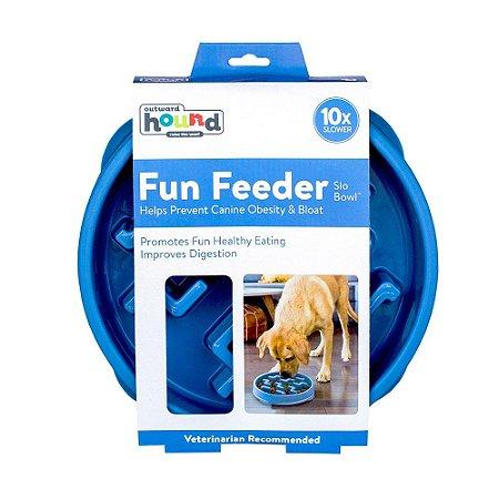 Comedouro Lento Outward Hound Fun Feeder Azul G