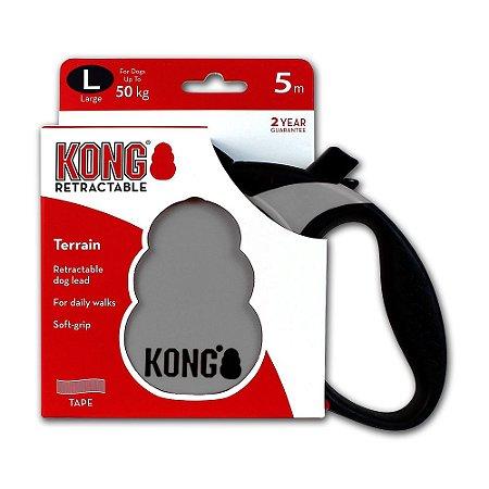 Guia Retrátil Kong Terrain G Cinza p/ Cães até 50kg 5m