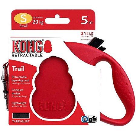 Guia Retrátil Kong Trail P Vermelha p/ Cães até 20kg 5m