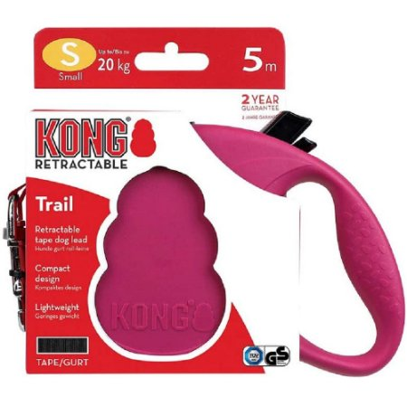 Guia Retrátil Kong Trail P Rosa p/ Cães até 20kg 5m