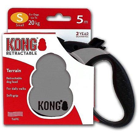 Guia Retrátil Kong Terrain P Cinza p/ Cães até 20kg 5m