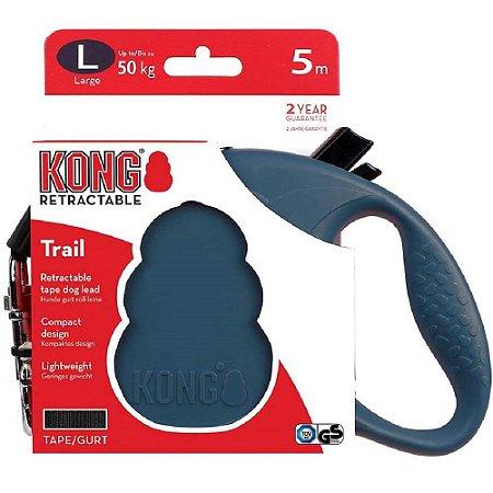 Guia Retrátil Kong Trail G Azul Cães até 50kg 5m