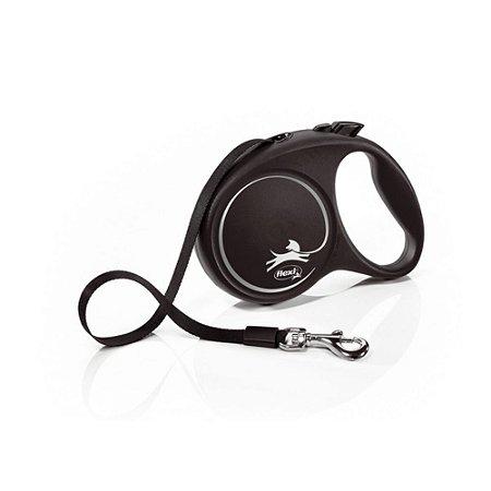 Guia Retrátil p/ Cachorro Flexi Black Design Preta Corda M