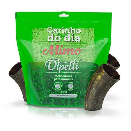 Kit Mordedores Naturais 3 Chifres Bovinos Dipetti Mimo