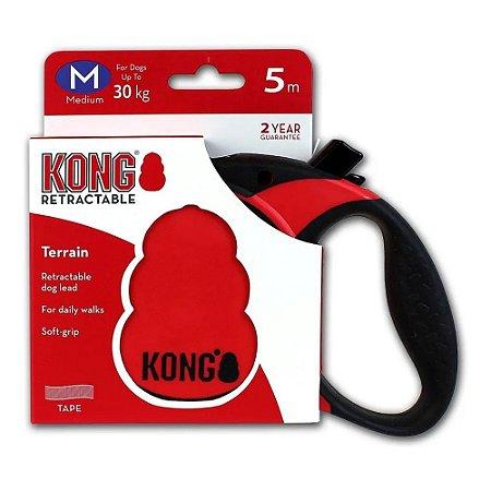 Guia Retrátil Kong Terrain M Vermelha Cães até 30kg 5m