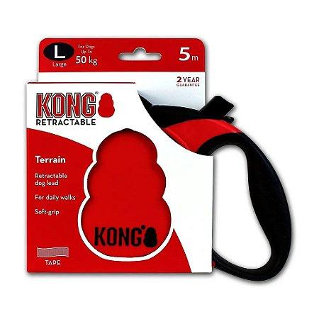 Guia Retrátil Kong Terrain G Vermelha Cães até 50kg 5m